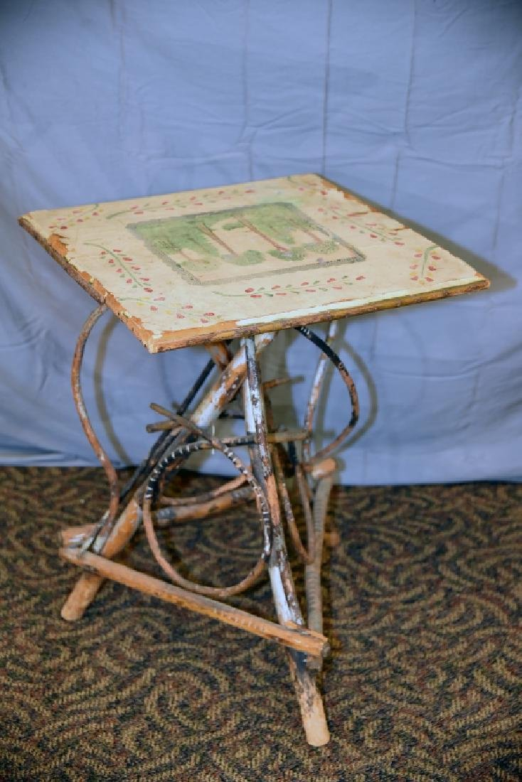 Large Vintage Twig Table with Decorative Painting - 7