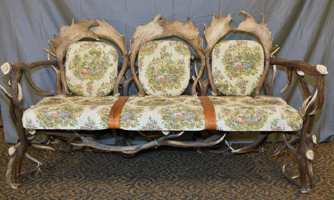 Vintage Antler Lodge 3 Seat Couch