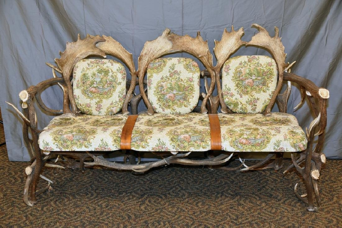 Vintage Antler Lodge 3 Seat Couch - 2
