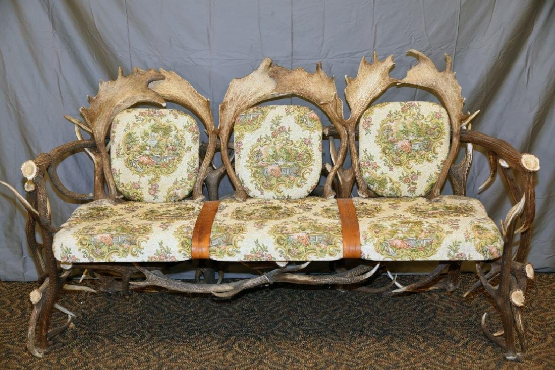 Vintage Antler Lodge 3 Seat Couch - 3