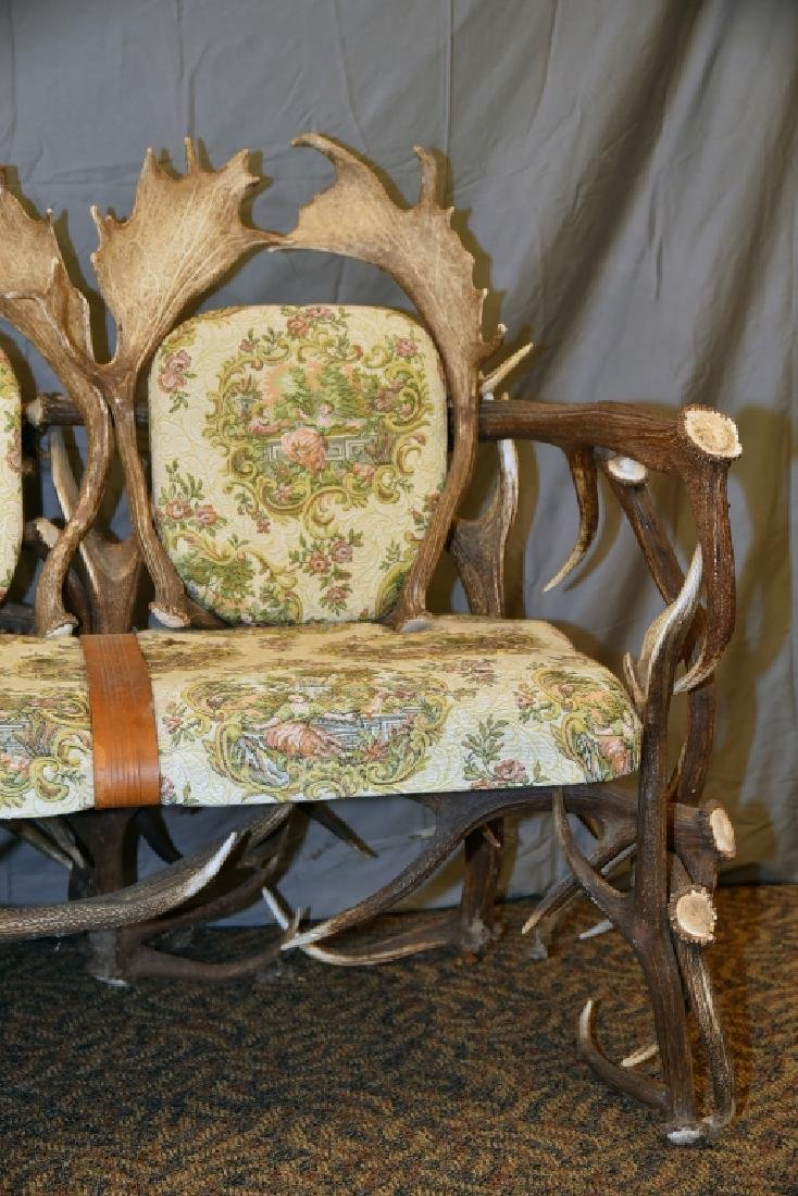 Vintage Antler Lodge 3 Seat Couch - 4