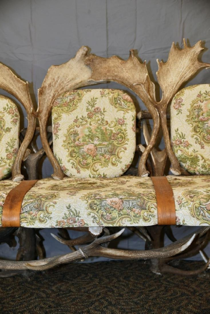 Vintage Antler Lodge 3 Seat Couch - 5