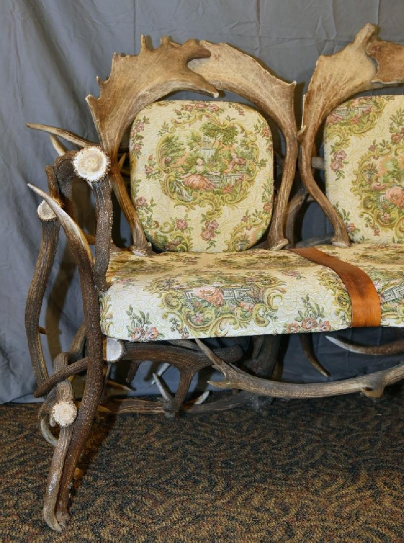 Vintage Antler Lodge 3 Seat Couch - 6