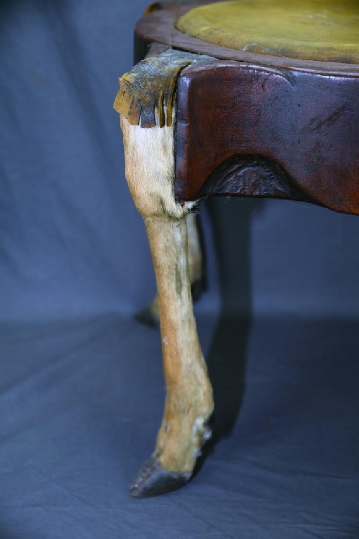 Deer Leg Carved Wood and Hide Foot Stool - 10