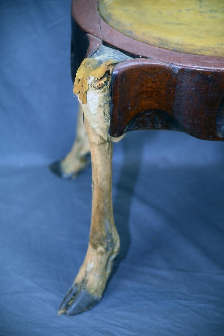 Deer Leg Carved Wood and Hide Foot Stool - 2