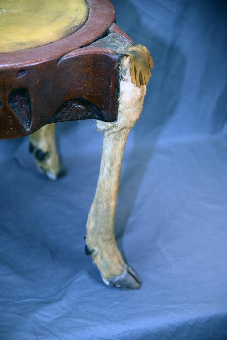 Deer Leg Carved Wood and Hide Foot Stool - 3
