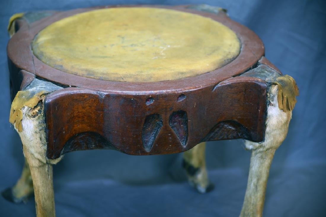 Deer Leg Carved Wood and Hide Foot Stool - 4