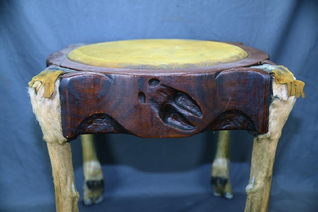 Deer Leg Carved Wood and Hide Foot Stool - 6