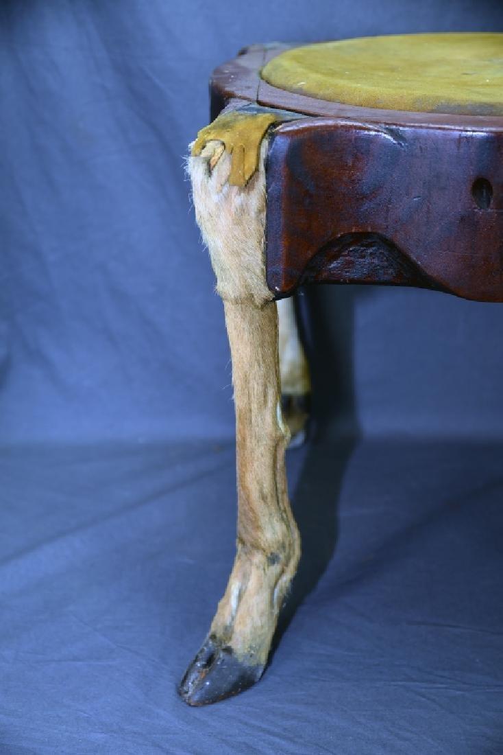 Deer Leg Carved Wood and Hide Foot Stool - 7