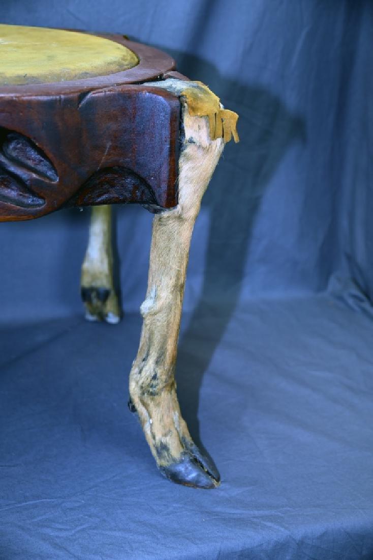 Deer Leg Carved Wood and Hide Foot Stool - 8