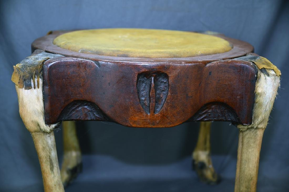 Deer Leg Carved Wood and Hide Foot Stool - 9