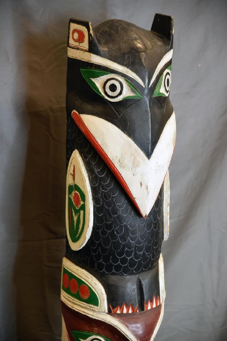 Large Carved Painted Totem Pole - 5