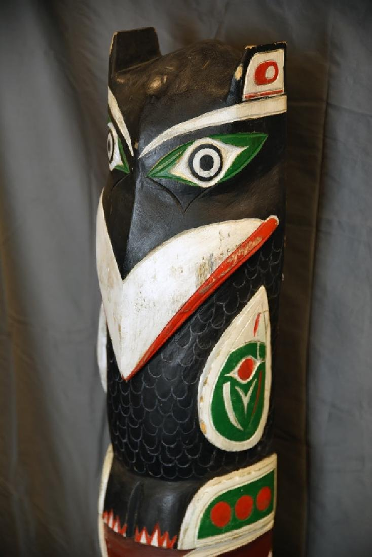 Large Carved Painted Totem Pole - 7