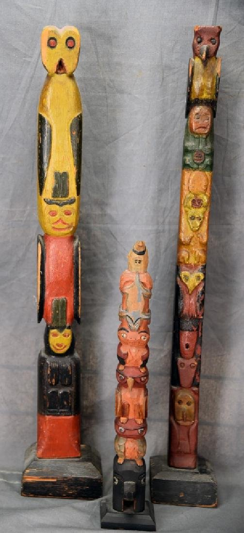 3 Small Folk Art Wooden Totem Poles - 3