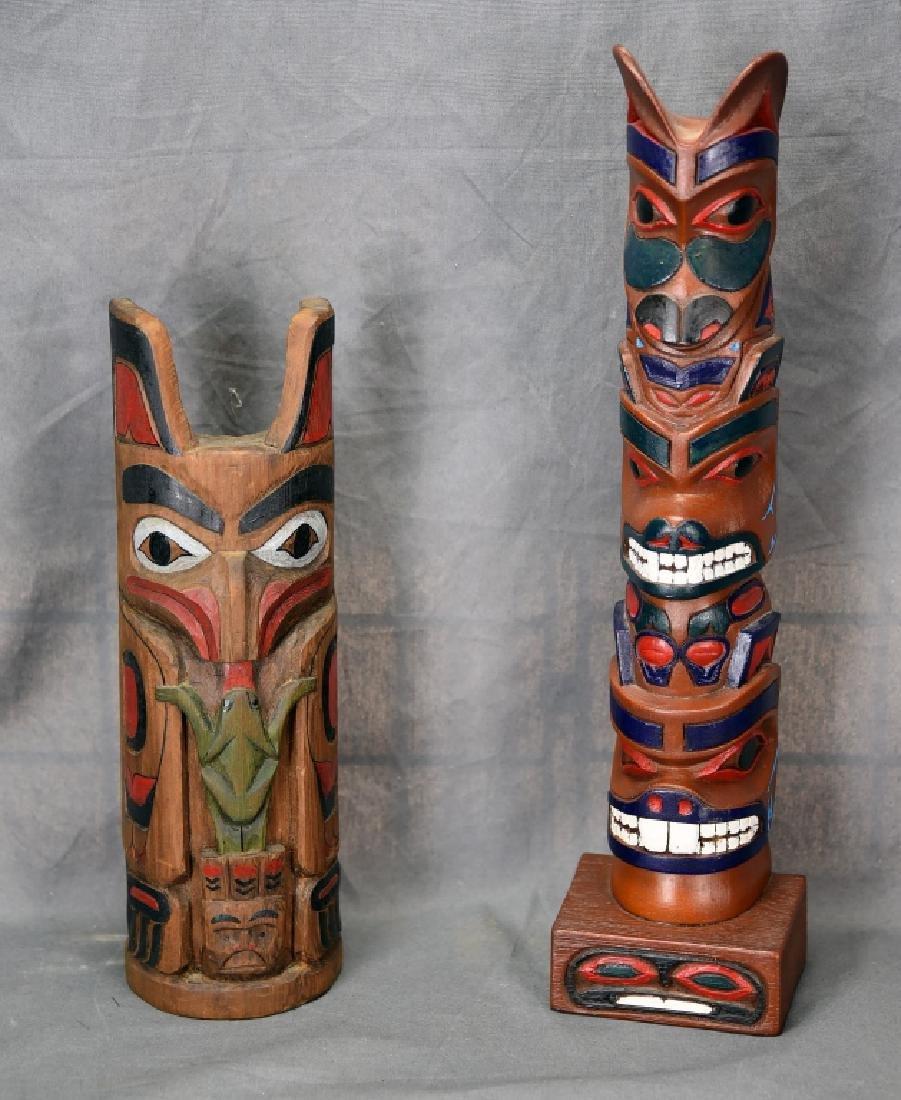 2 Northwest Coastal Area Wooden Totem Poles Alaska