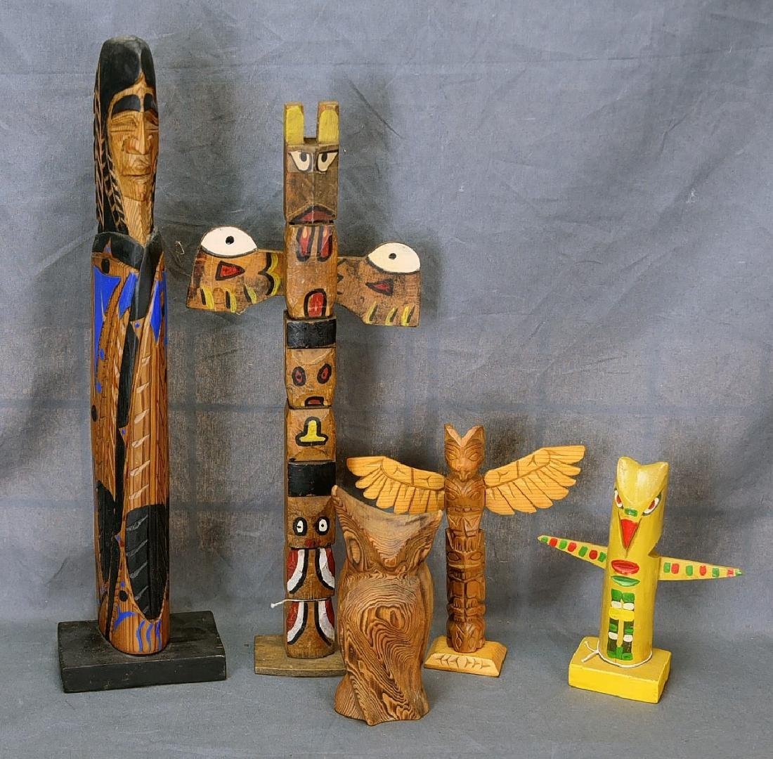 5 Vintage Native American Style Totem Carvings