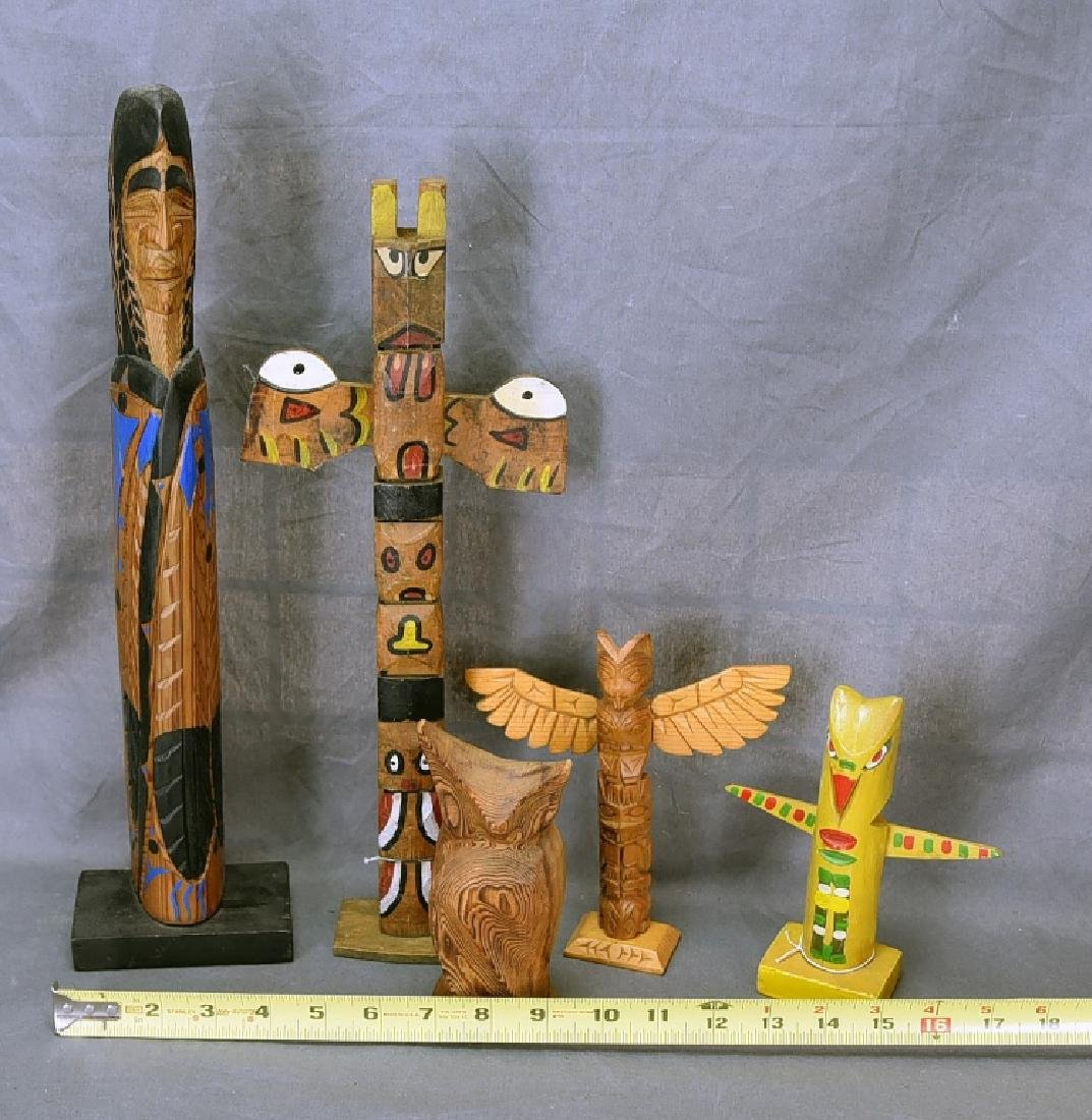 5 Vintage Native American Style Totem Carvings - 2