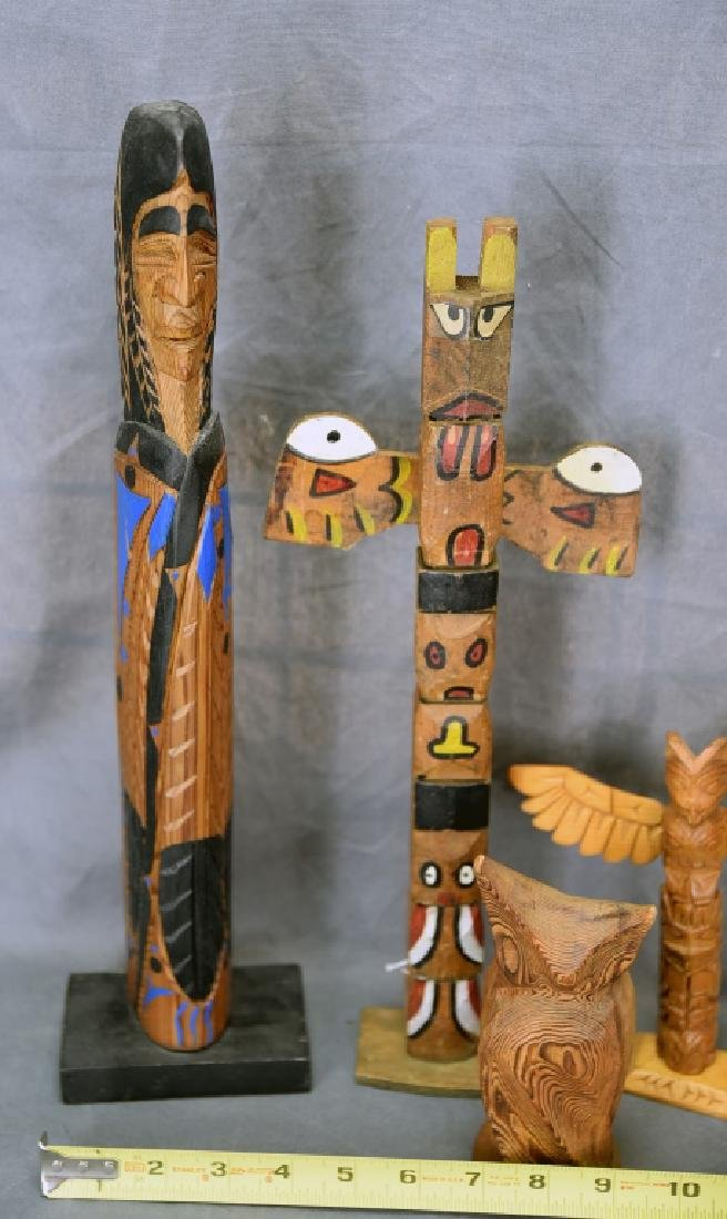 5 Vintage Native American Style Totem Carvings - 3
