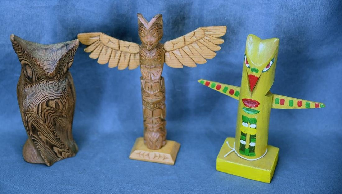 5 Vintage Native American Style Totem Carvings - 4