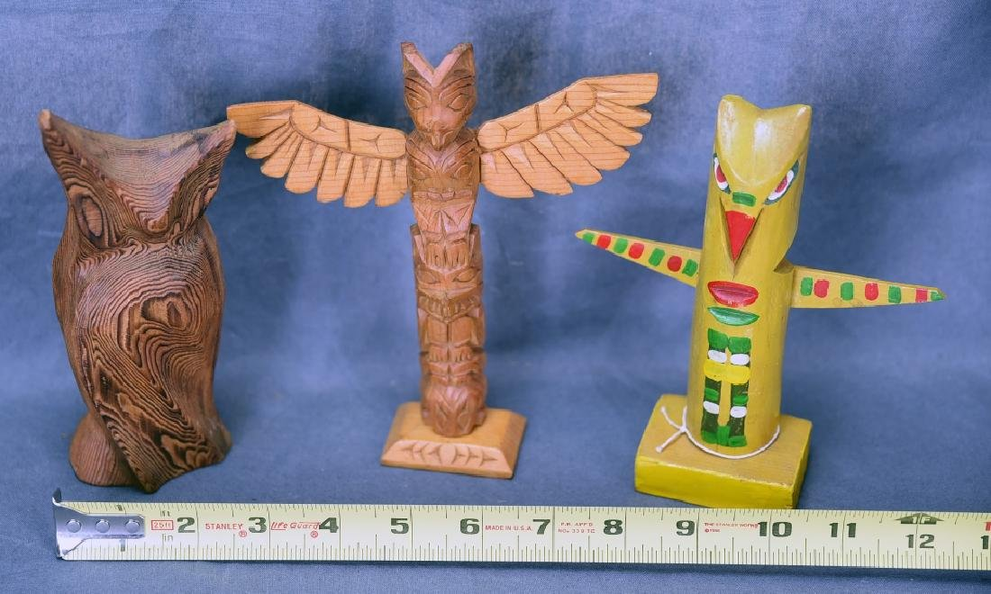5 Vintage Native American Style Totem Carvings - 5