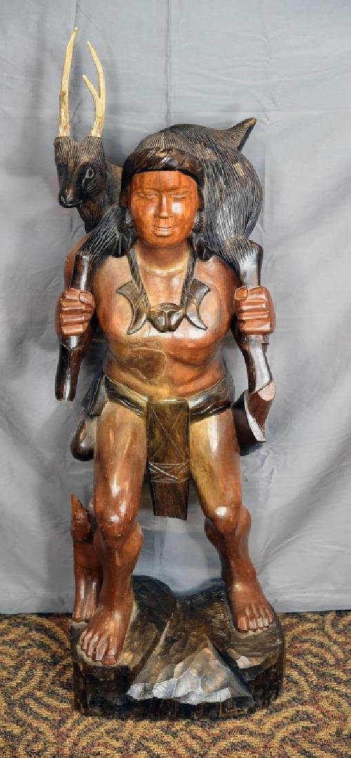 Large Native American Carved Figure - 2