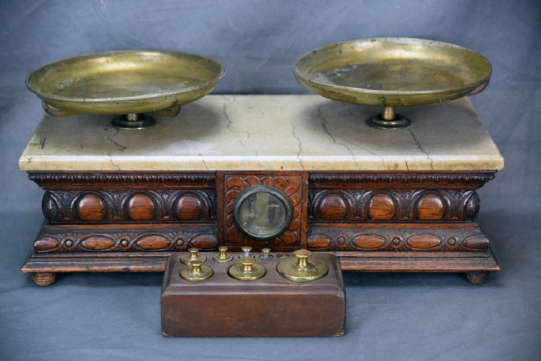 Oak Antique Balance Scale WP Hock Chicago, Weights