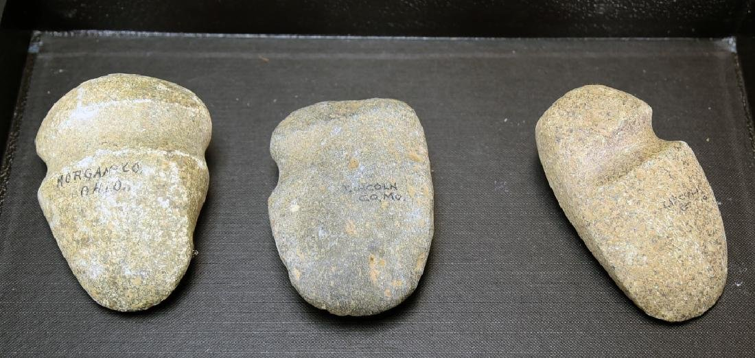 3 Native American Grooved Stone Axe Heads