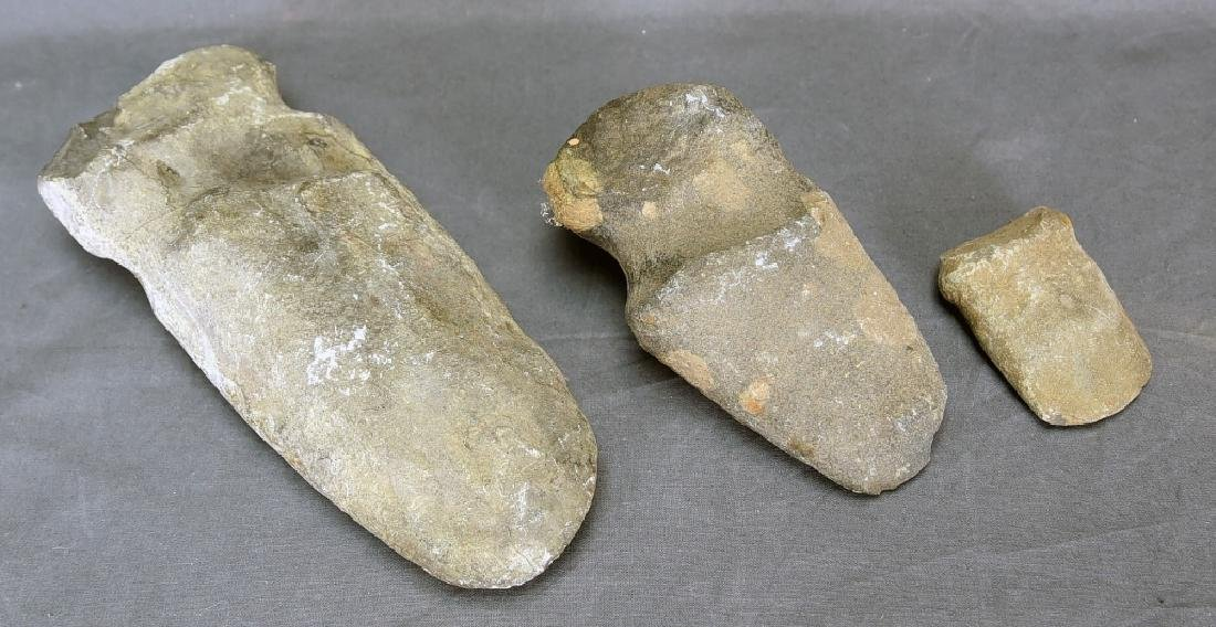 3 Native American Stone Grooved Axe Heads