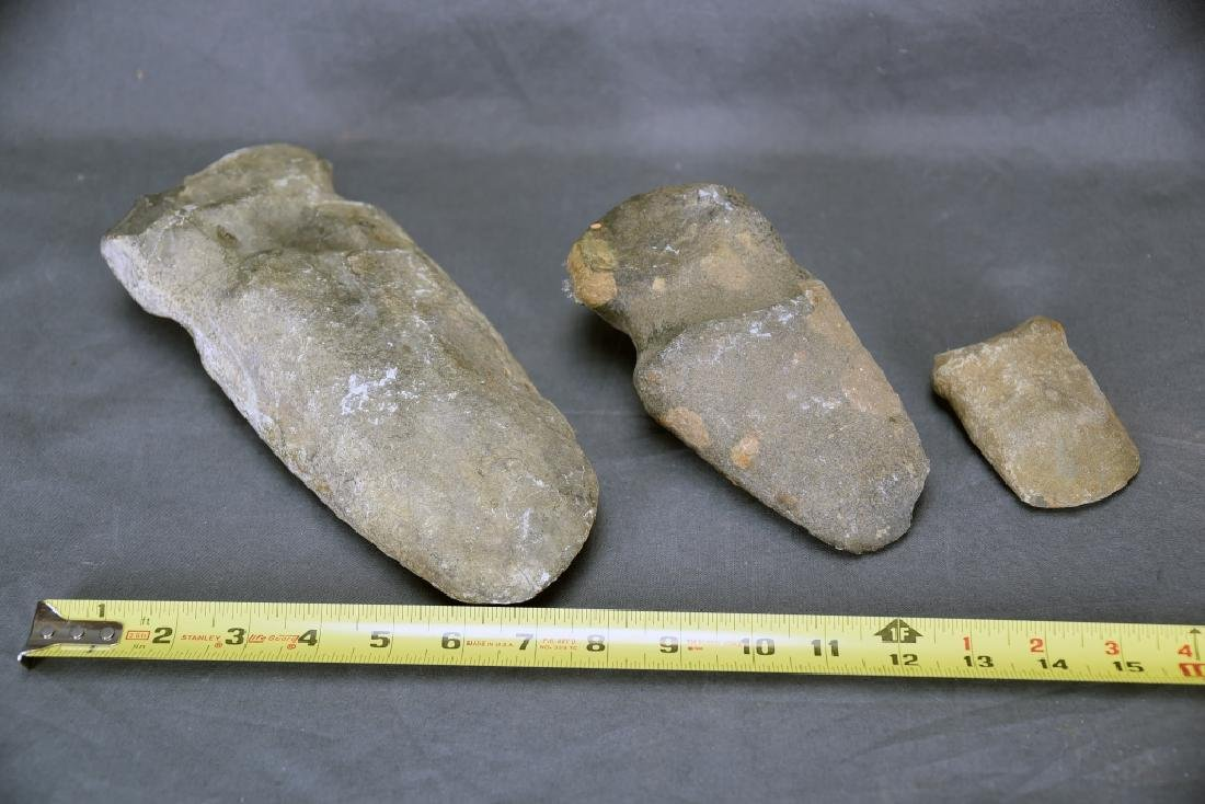 3 Native American Stone Grooved Axe Heads - 2