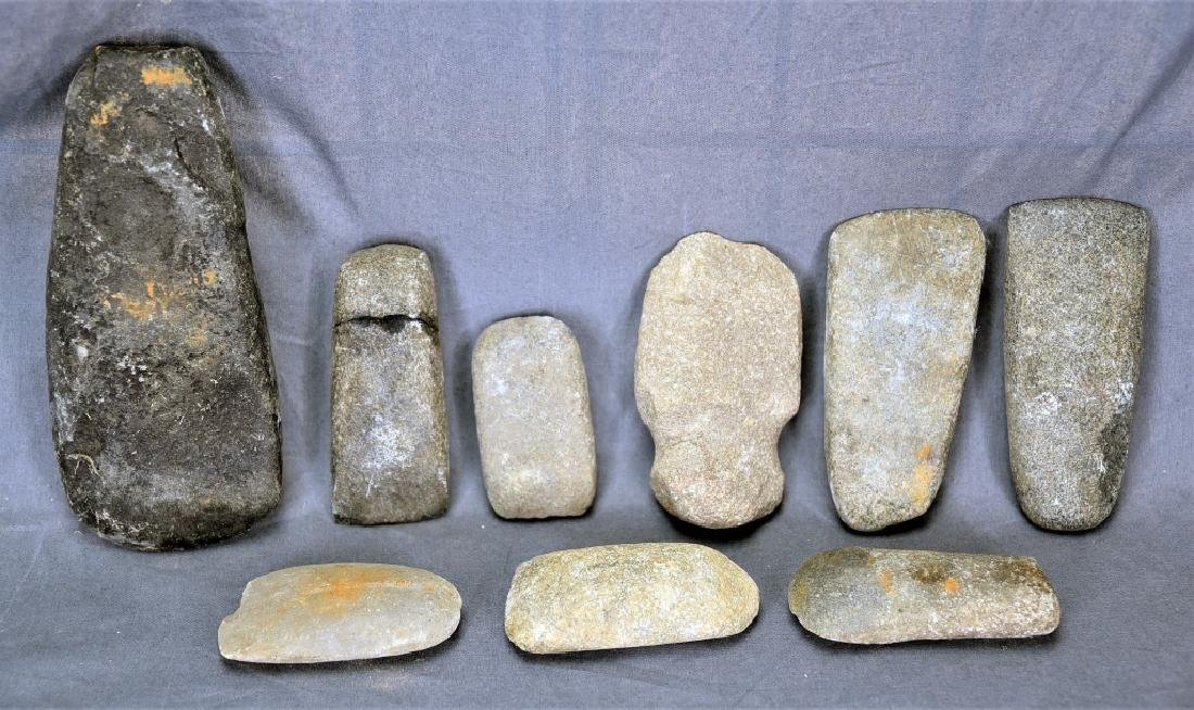 8 Native American Stone Celts, 1 Grooved Axe Head