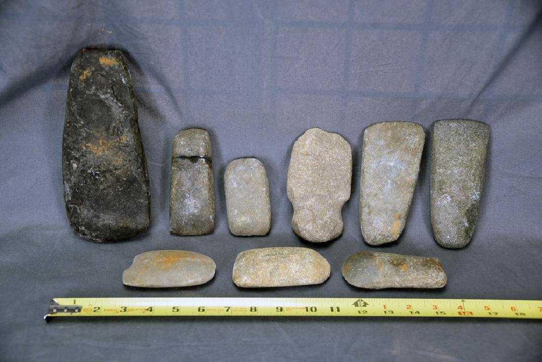 8 Native American Stone Celts, 1 Grooved Axe Head - 2