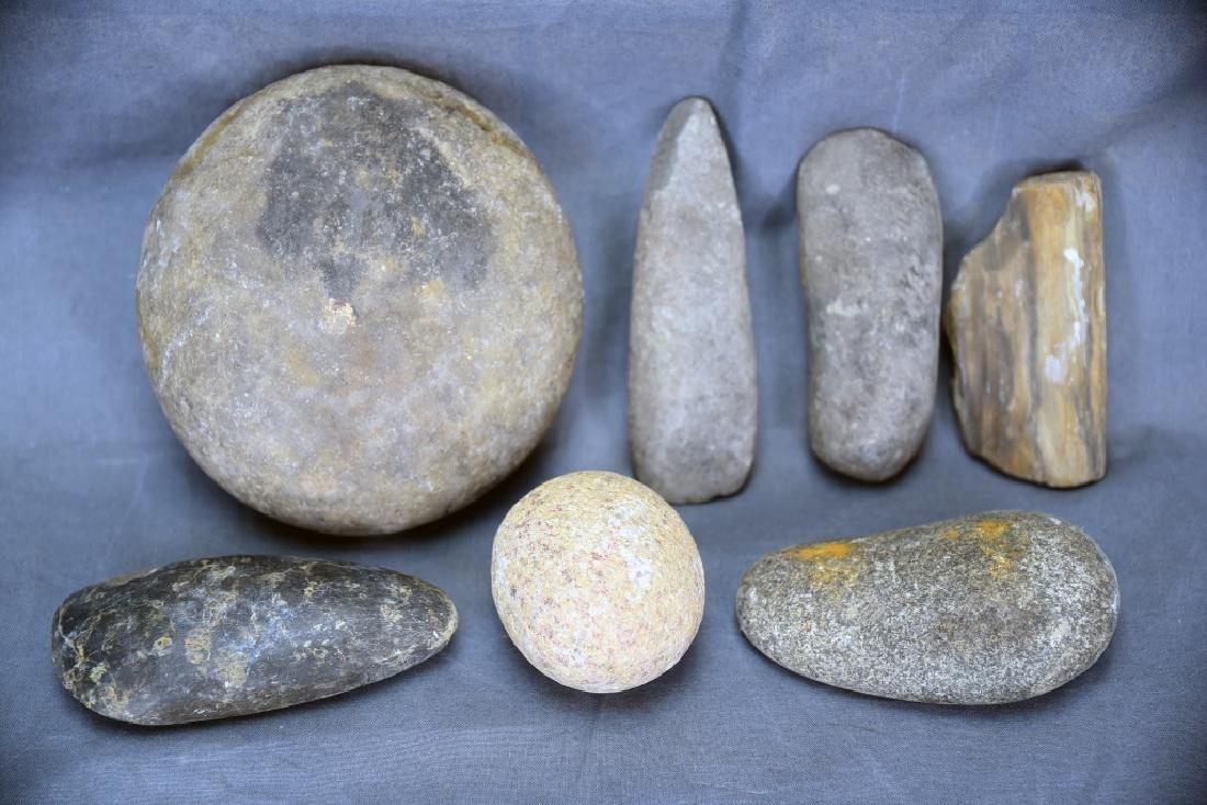 7 Native American Stone Tools including 4 Celts…
