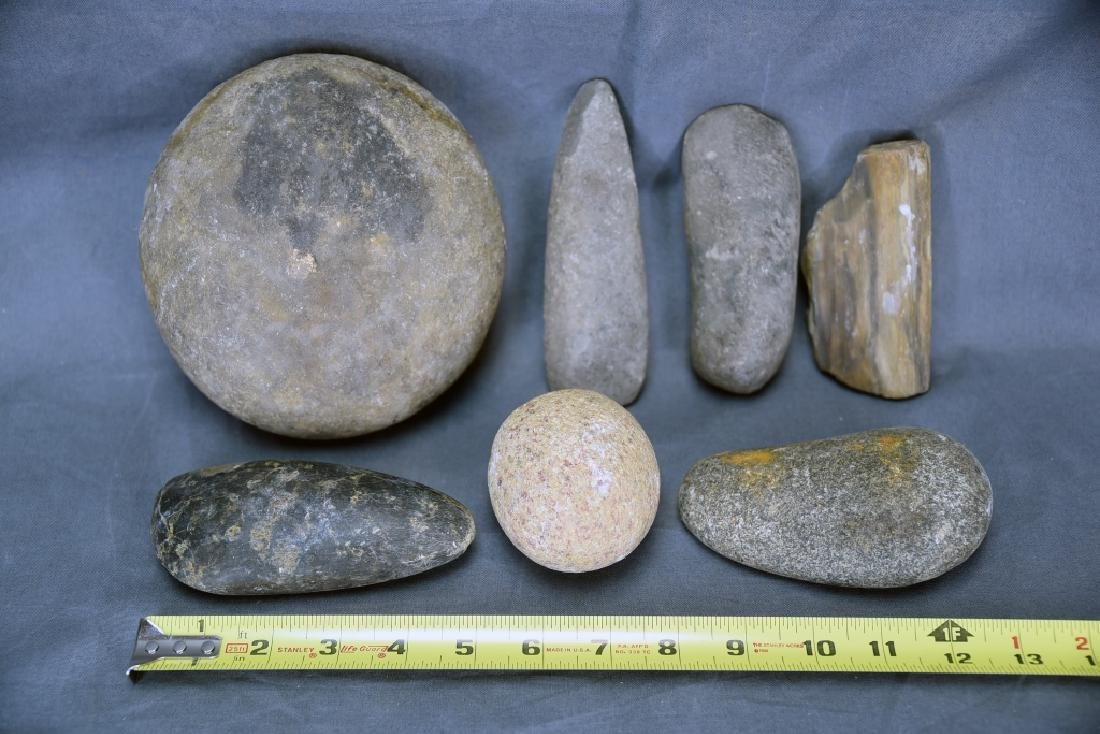7 Native American Stone Tools including 4 Celts… - 2