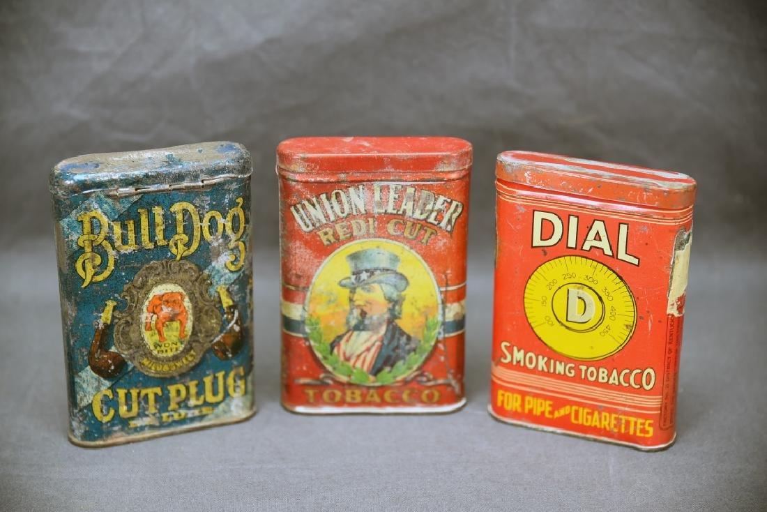 3 Antique Tobacco Pocket Tins Bull Dog, Dial +