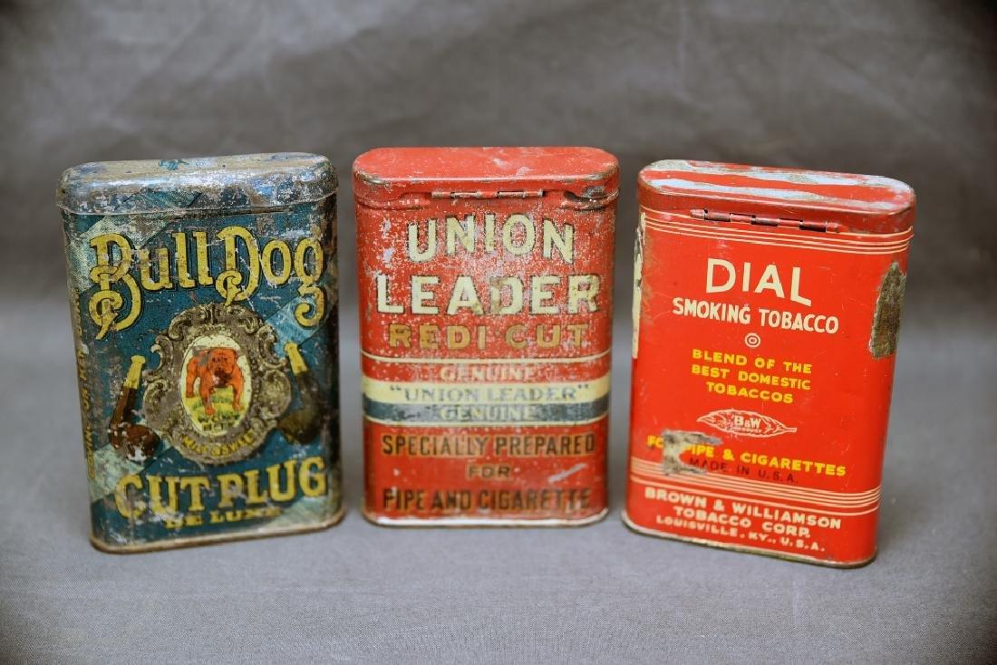 3 Antique Tobacco Pocket Tins Bull Dog, Dial + - 5