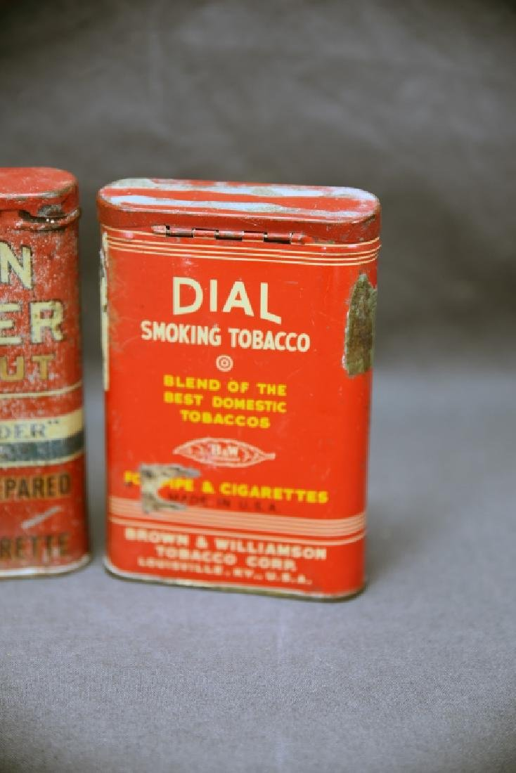 3 Antique Tobacco Pocket Tins Bull Dog, Dial + - 8
