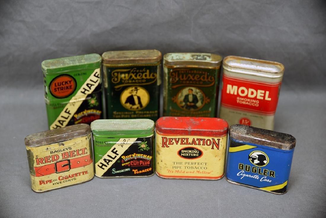8 Vintage Tobacco Pocket Tins Red Belt, Tuxedo+