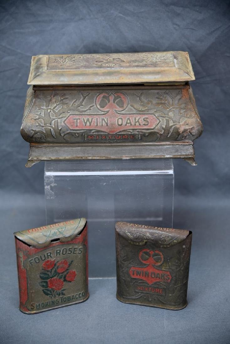 3 Antique Embossed Tobacco Tins Tin Oaks, 4 Roses