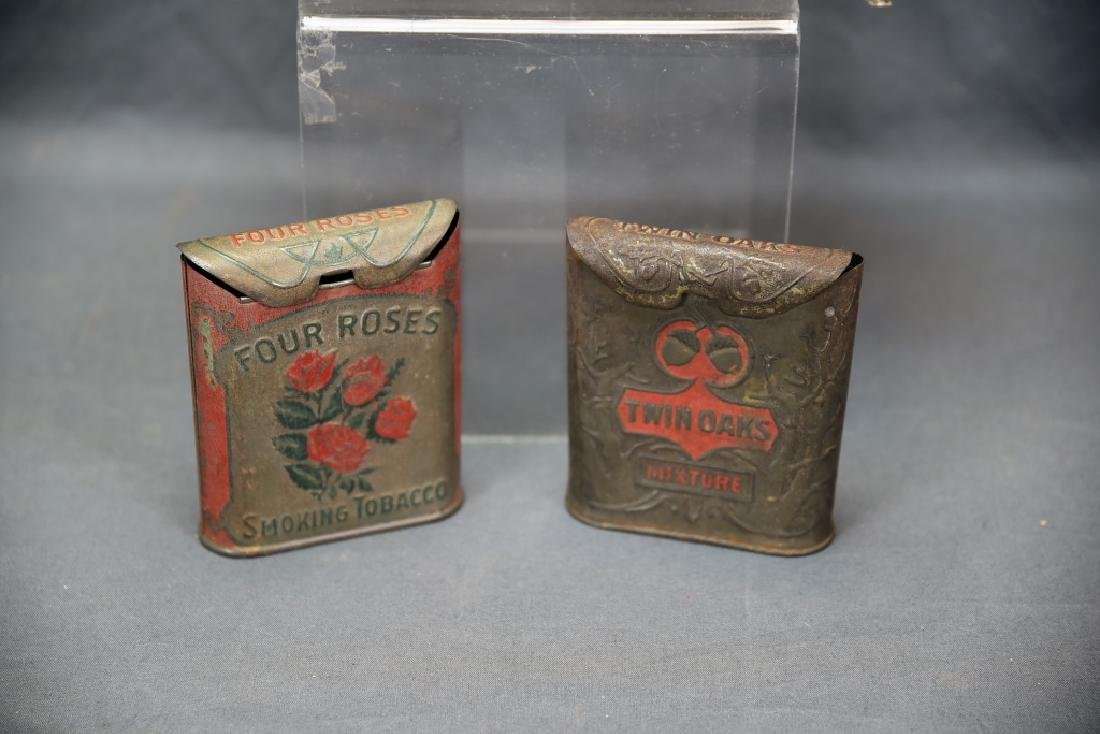 3 Antique Embossed Tobacco Tins Tin Oaks, 4 Roses - 3