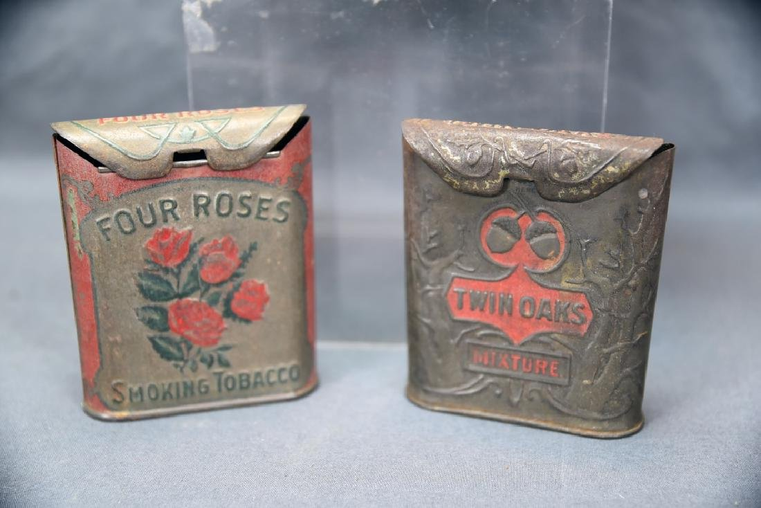 3 Antique Embossed Tobacco Tins Tin Oaks, 4 Roses - 4