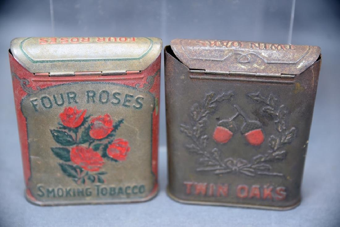 3 Antique Embossed Tobacco Tins Tin Oaks, 4 Roses - 7