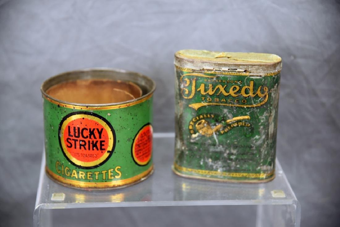 2 Tins, Tuxedo dated 1910 and a Lucky Strike Can
