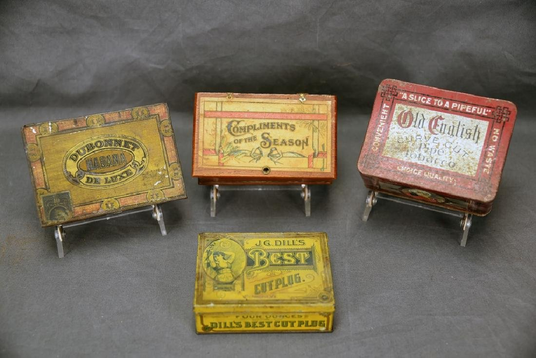 4 Cigar Boxes, 3 Tin and 1 Wood