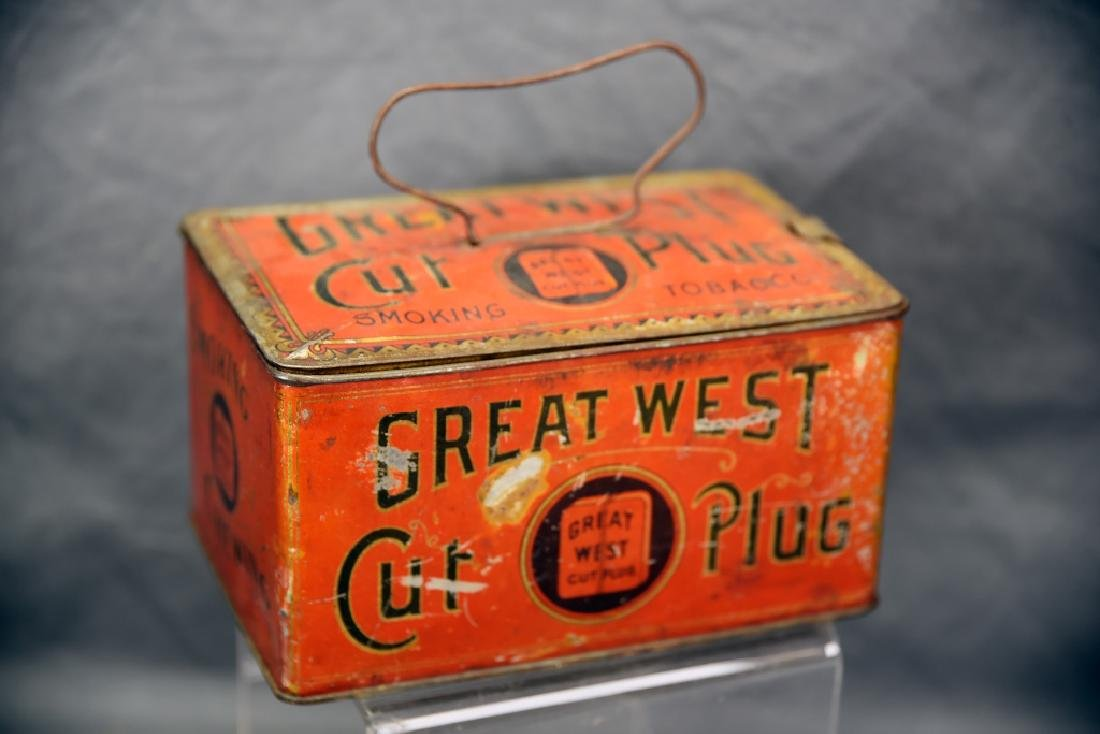 Great West Cut Plug TobaccoTin Lunch Box Pail