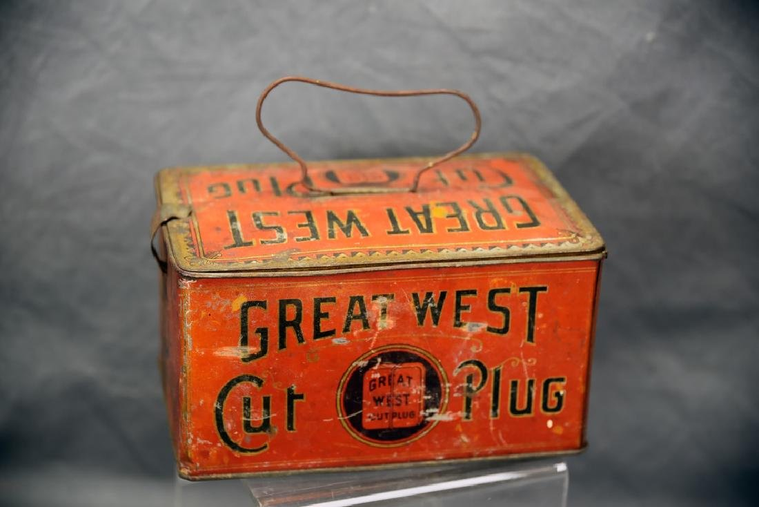 Great West Cut Plug TobaccoTin Lunch Box Pail - 2