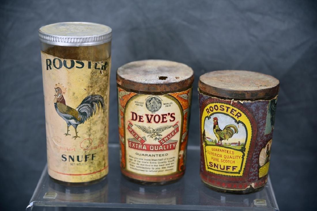 3 Tin Snuff Jars, Rooster, De Voe's