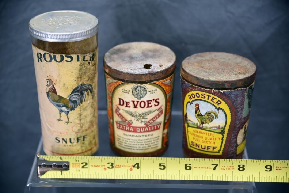 3 Tin Snuff Jars, Rooster, De Voe's - 2