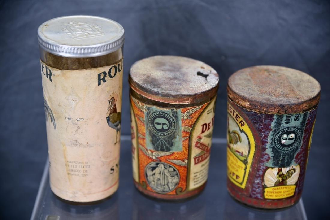 3 Tin Snuff Jars, Rooster, De Voe's - 3