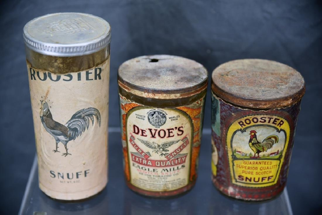 3 Tin Snuff Jars, Rooster, De Voe's - 4