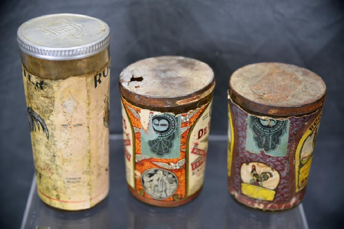 3 Tin Snuff Jars, Rooster, De Voe's - 5